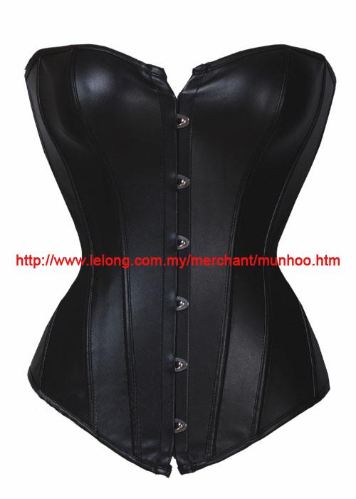 Black Hook Leather Bustier Corset Lingerie Costume YH7113