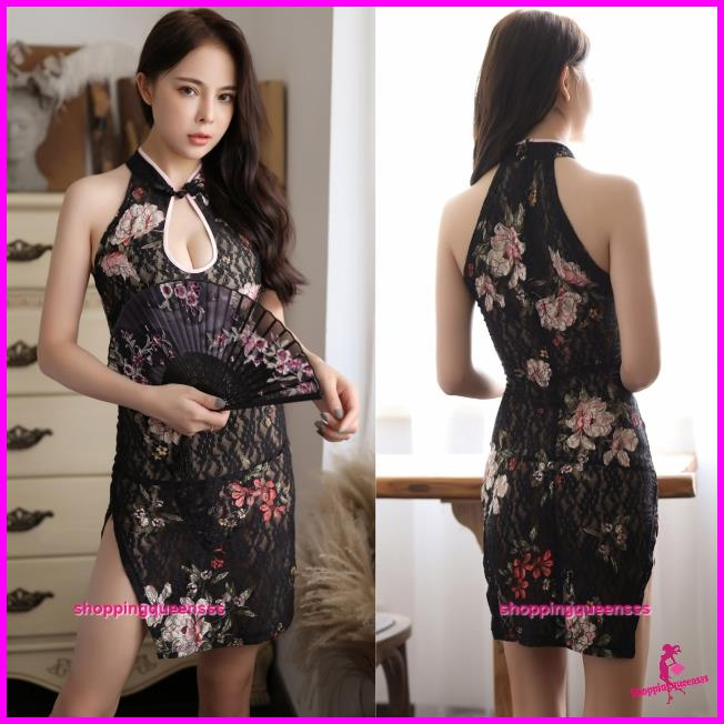 Black Lace Colorful Cheongsam Dress Costume Sleepwear Sexy Lingerie