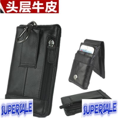 Black Leather Phone Pouch Bag