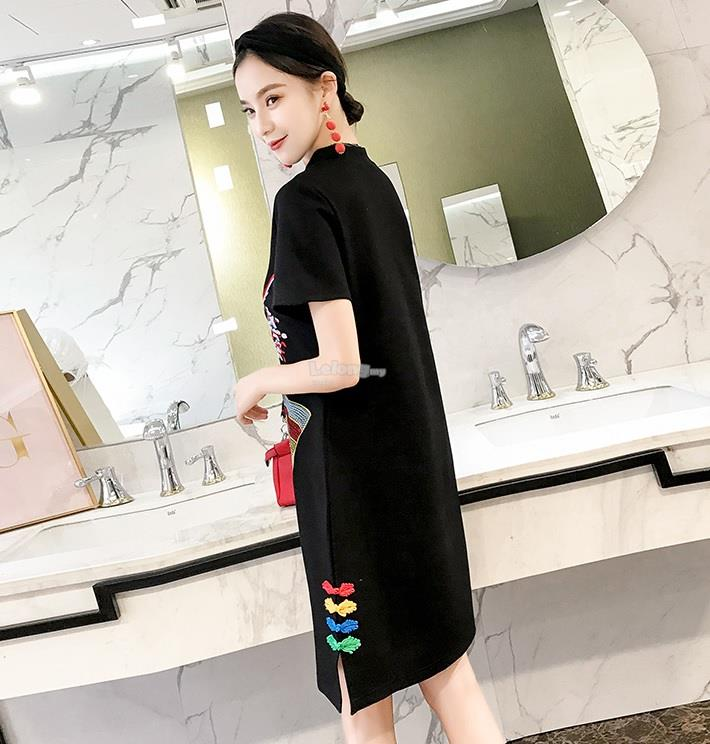 Black Mini Opera Cheongsam 2018 for women