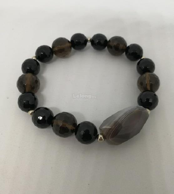 small large smooth products jewelry faceted stone onyx stretch bracelet gold k bead black or wrap