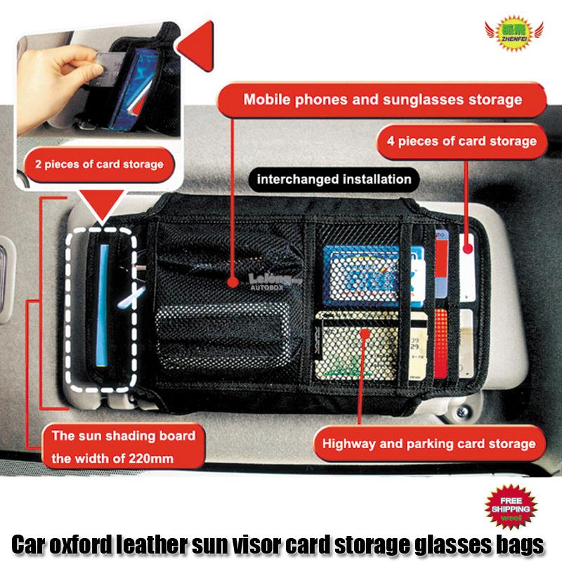 Black Oxford leather sun visor card storage bags ZHENFEI W454C