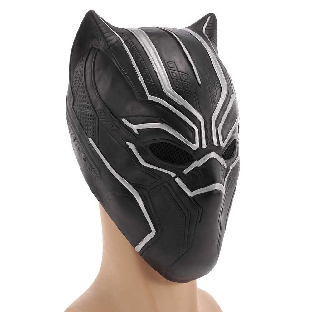 Black Panther Mask Superhero Latex Costume Mask Headgear for Halloween Cosplay