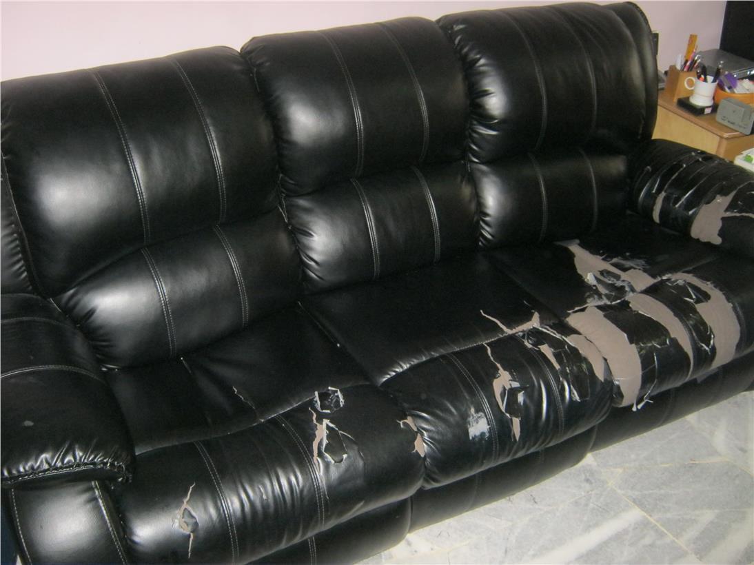 Peachy Used Black Pvc Recliner Sofa Set 3 1 Machost Co Dining Chair Design Ideas Machostcouk