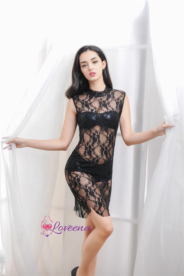 Black Sexy Sleeveless Lace Tulle Lingerie Nightwear Dress L3123