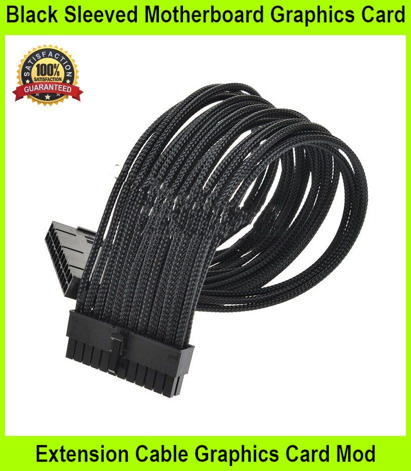 Black Sleeved Motherboard Graphics Card Extension Cable  - [BLACK,24P]