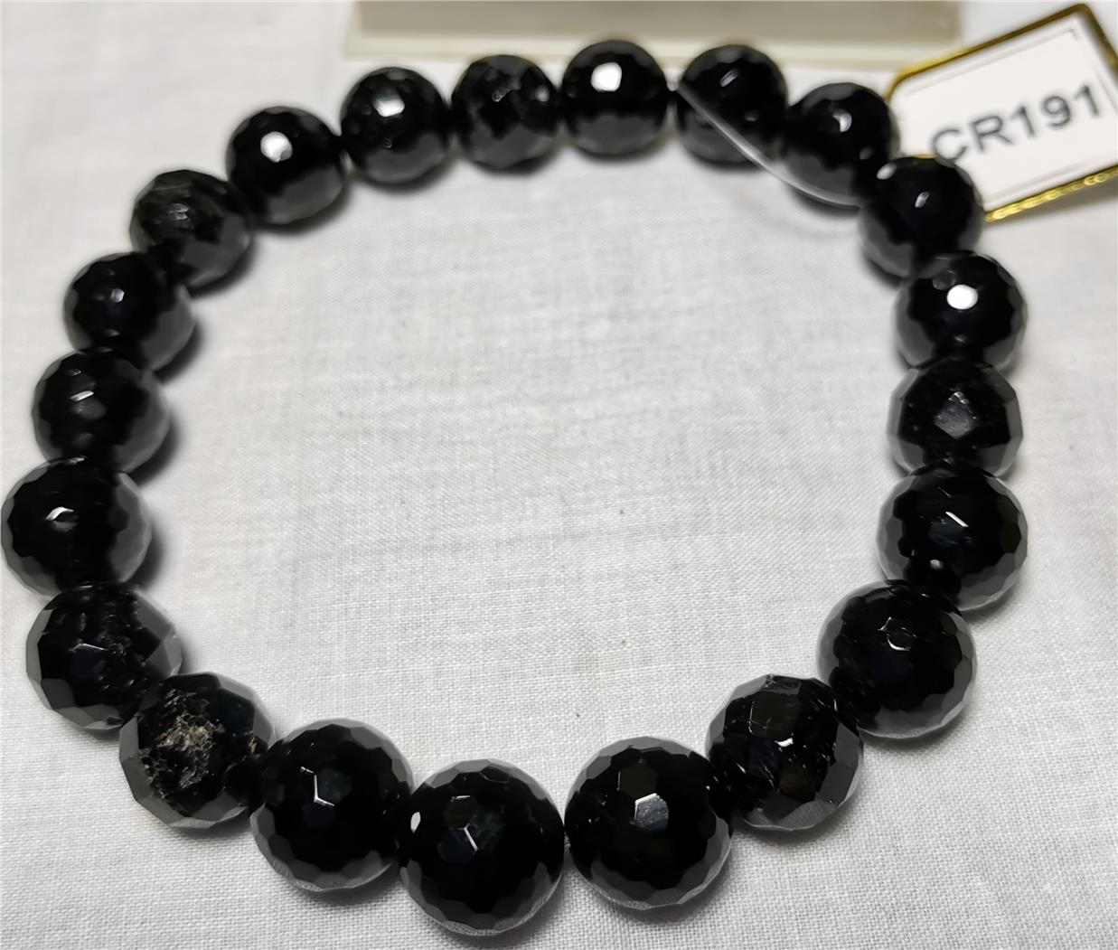 Black Tourmaline Faceted Round Bead-3 (10mm)