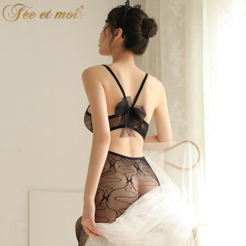 670717e3f8b Black Transparent Ribbon Body Stocking Sexy Lingerie W060