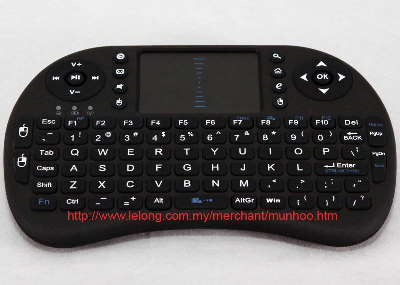 Black USB Wireless Keyboard Touchpad Mouse for Android TV, PC Windows
