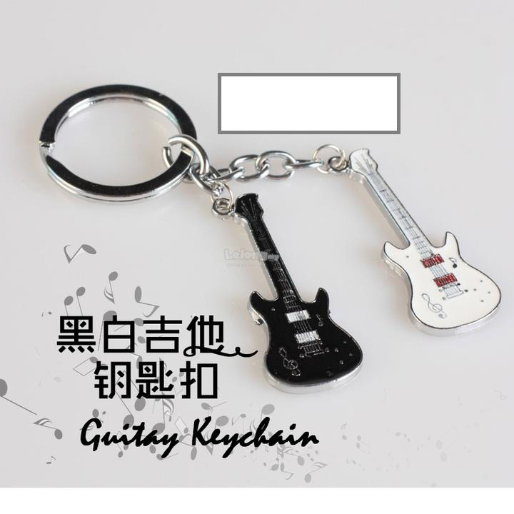 Black & White Guitar Couple Keychain