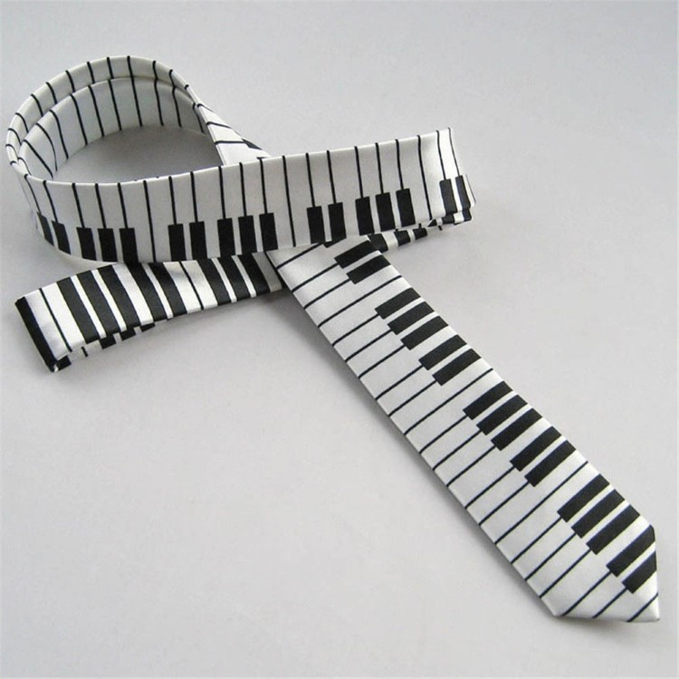New Black and White PIANO KEYBOARD MUSIC ROCK PUNK TIE Necktie