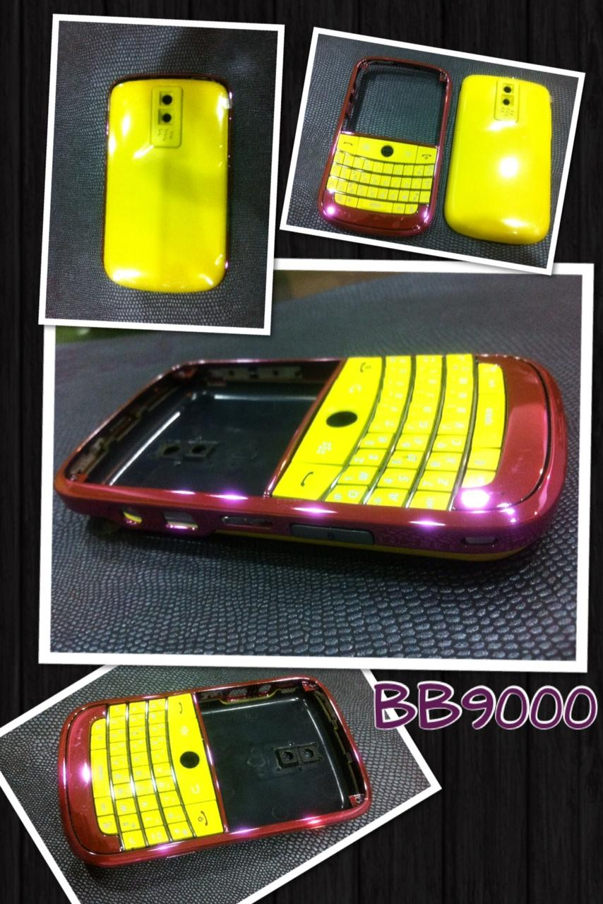 Blackberry Bold 9000 Chrome Pink and Yellow Housing.
