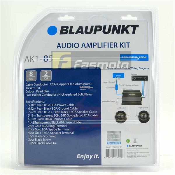 Blaupunkt AK1-8S 2 Channel 8 Gauge Car Audio Amplifier Kit