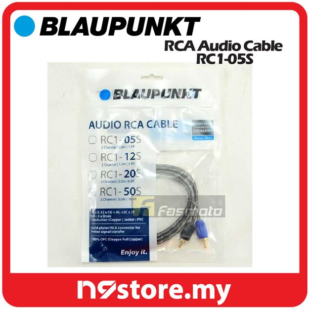 BLAUPUNKT RC1-05S 2 Channel RCA Audio Cable 0 5M (1 6 ft) Oxygen Full