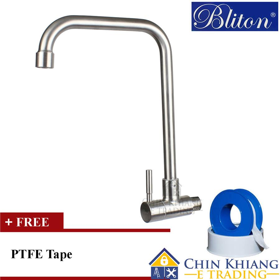 Bliton b3046w wall mounted kitchen sink water tap stainless steel