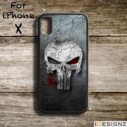 newest collection cf17b 58e7b Bloody Punisher Skull Case Cover for iPhone X 8 8+ 7 7+ 6 6+ 5S 5