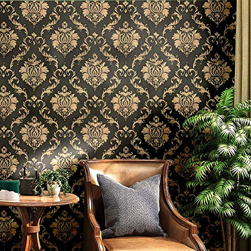 Blooming Wall Peel and Stick Vintage Gold Damasks Wallpaper Wall Decor Vinyl S