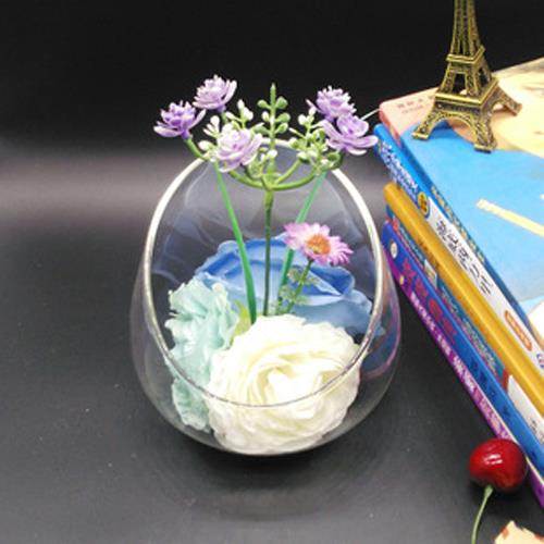 BLS8037 H 15 CM ROUND GLASS VASE CONTAINER FLOWER DECORATION