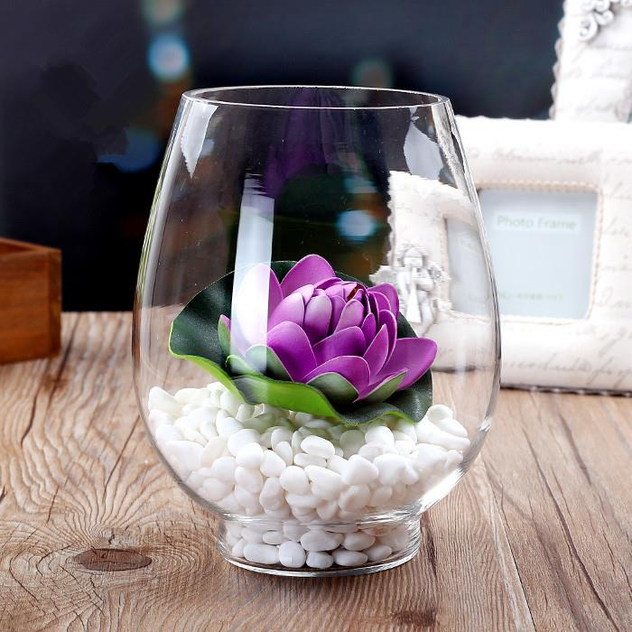 BLS8039 H 17 CM ROUND GLASS VASE CONTAINER FLOWER DECORATION