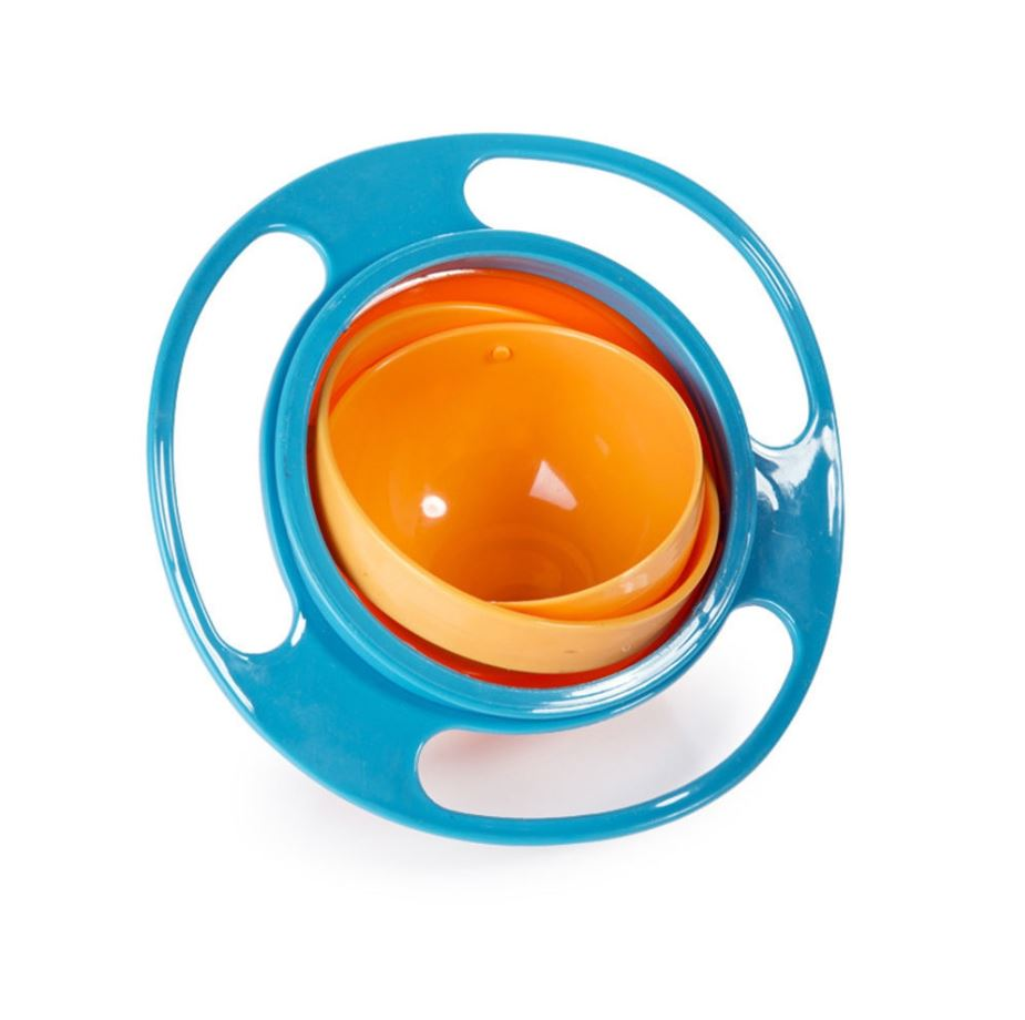 Blue 360 Degrees Non Spill Gyro Bowl Feeding Lid Rotating Bowl Baby To..