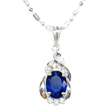 Round Blue CZ Sterling Silver Necklace - P3225S_1