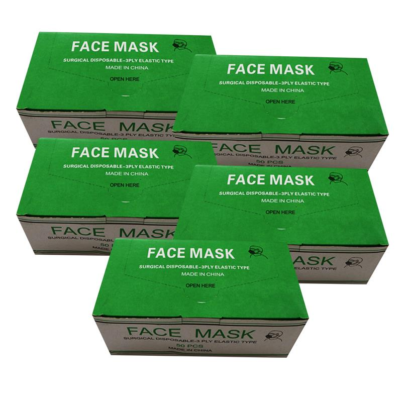 Blue Disposable Medical Dustproof Surgical Face Mask 3 Layer (5 Boxes)