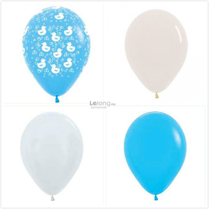 Blue Ducky Latex Round Balloon Match Set (12 pcs)