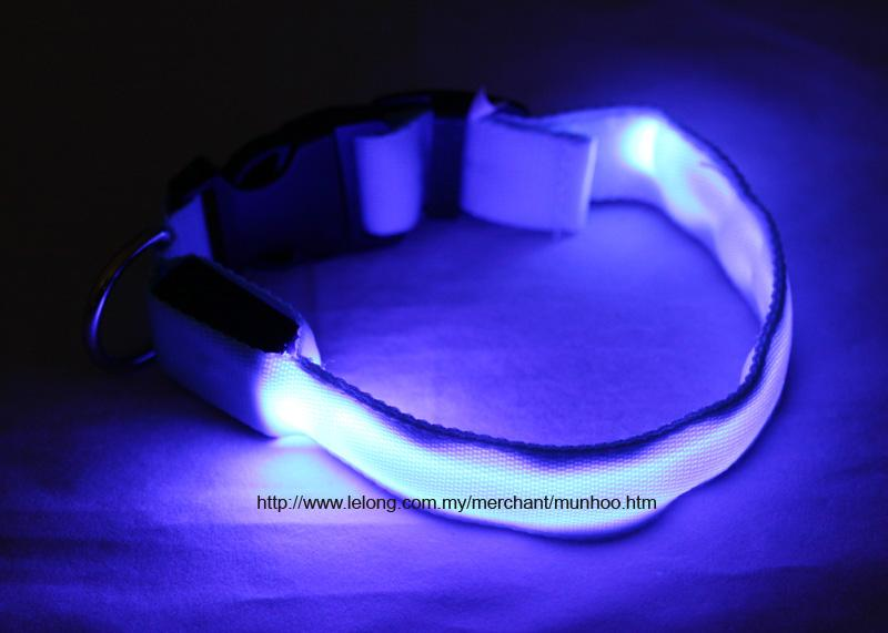 Blue LED Pet Dog Neck Collar Strap Chain Buckle Lock Size S