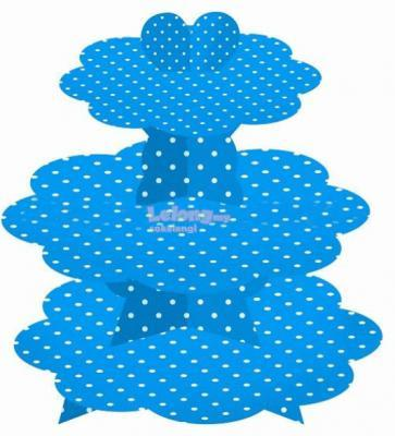 Blue Polka Dots 3 Tier Cupcake Stand A three tier, cup cake stand with