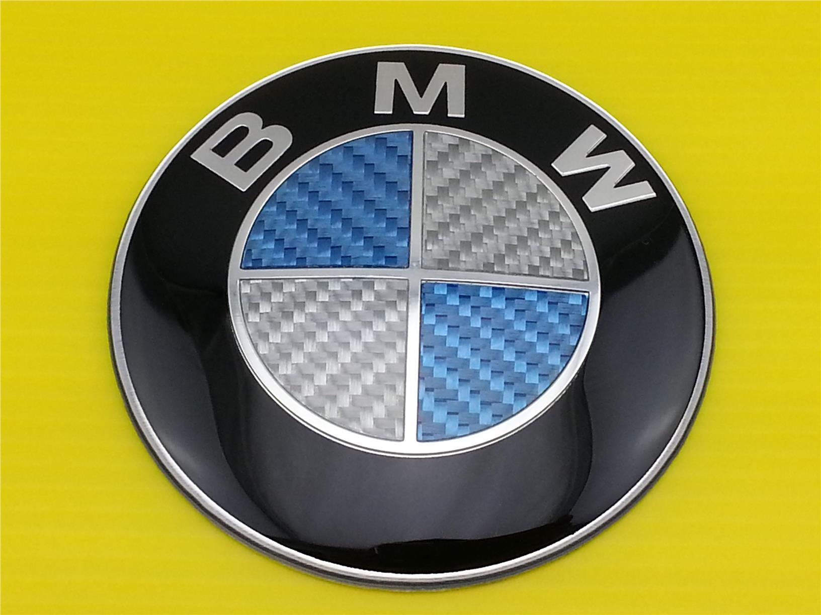 New Blue White Carbon Fiber Bmw Emblem Logo Front Or Rear Size 82mm