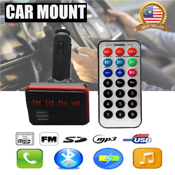 Bluetooth FM Modulator Car Charger Transmitter USB MP3 SDcard Line in