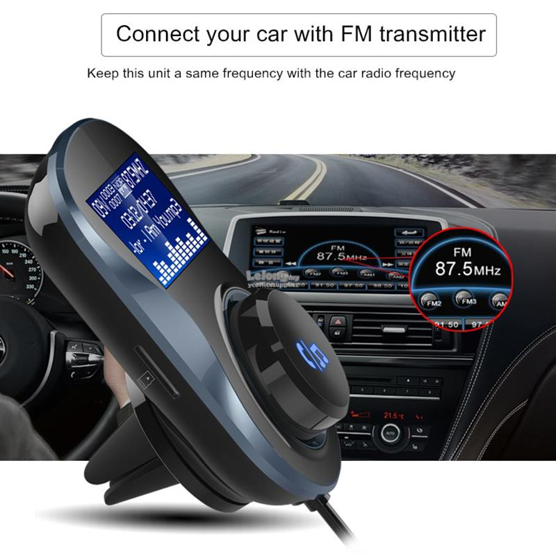 Bluetooth Handsfree FM Transmitter MP3 Player Dual USB Car Charger