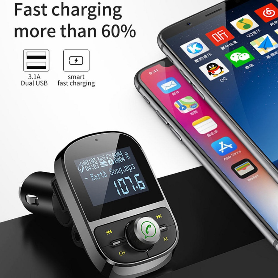 Bluetooth Mp3 Player Fm Transmitter End 12 6 2020 1151 Am Portable Usb Car Charger P003