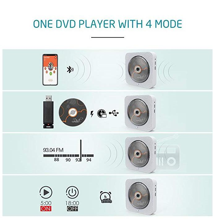 BLUETOOTH Wall Mountable Dvd/cd Player With Full-hd 1080p Re - [WHITE]