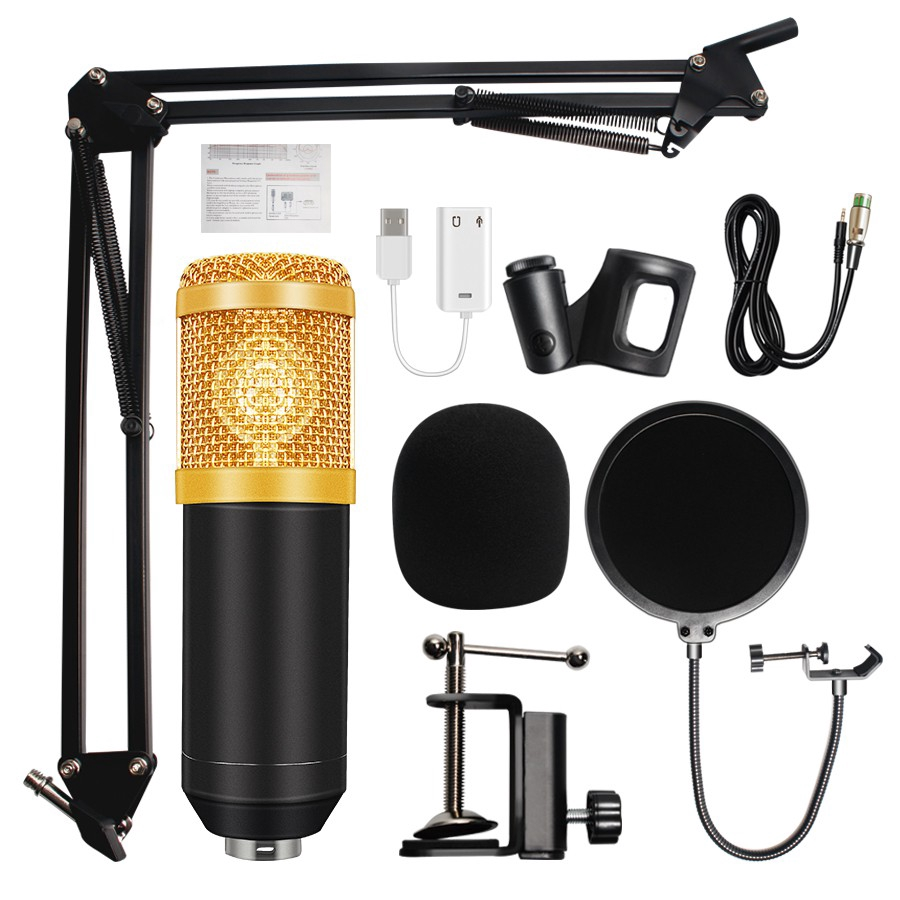 Bm 800 Microphone Condenser Sound Recording Microph - [MIC AND TRIPOD]