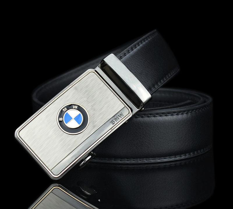 BMW Cars Logo Leather Belt Silver Auto Buckle Tali Pinggang Men Women