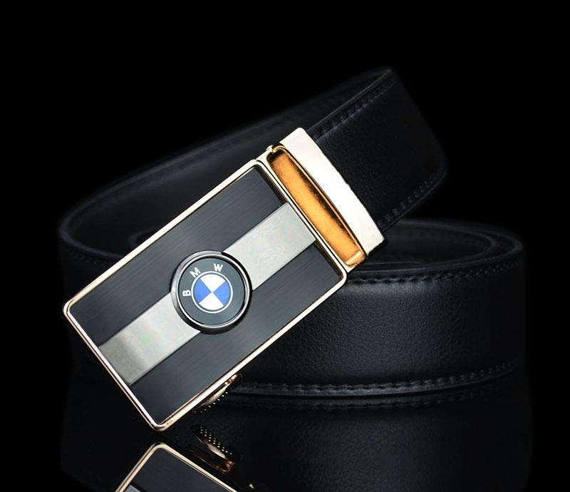 BMW Cars Logo PU Leather Belt Gold Auto Buckle Tali Pinggang Men Women