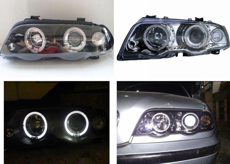BMW E46 98-01 4D LED Ring Projector HEAD LAMP