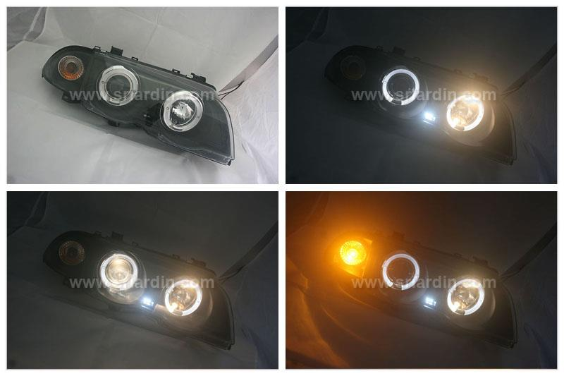 BMW E46 98-01 BLACK PROJECTOR HEADLAMP w RING