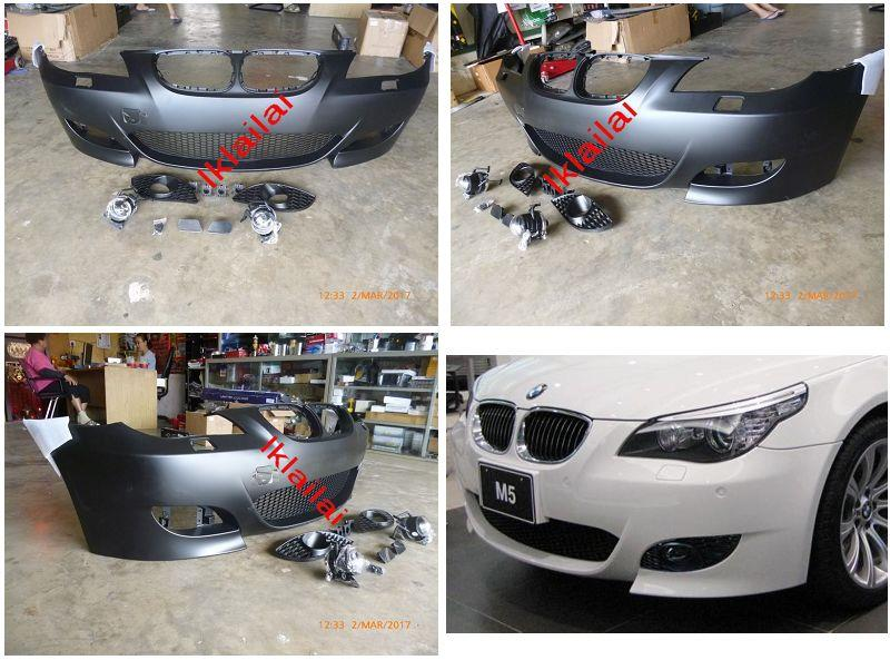 BMW E60 M5 Front Bumper W/ Lower Grille / Fog Lamp Cover / Sensor Hole