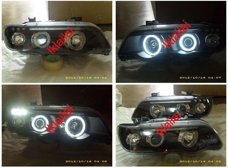 BMW X5 E53 Projector Head Lamp Black CCFL Ring & 3-LED