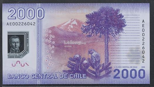 (BN 0112) 2009 Chile 2000 Pesos, Polymer Note - UNC