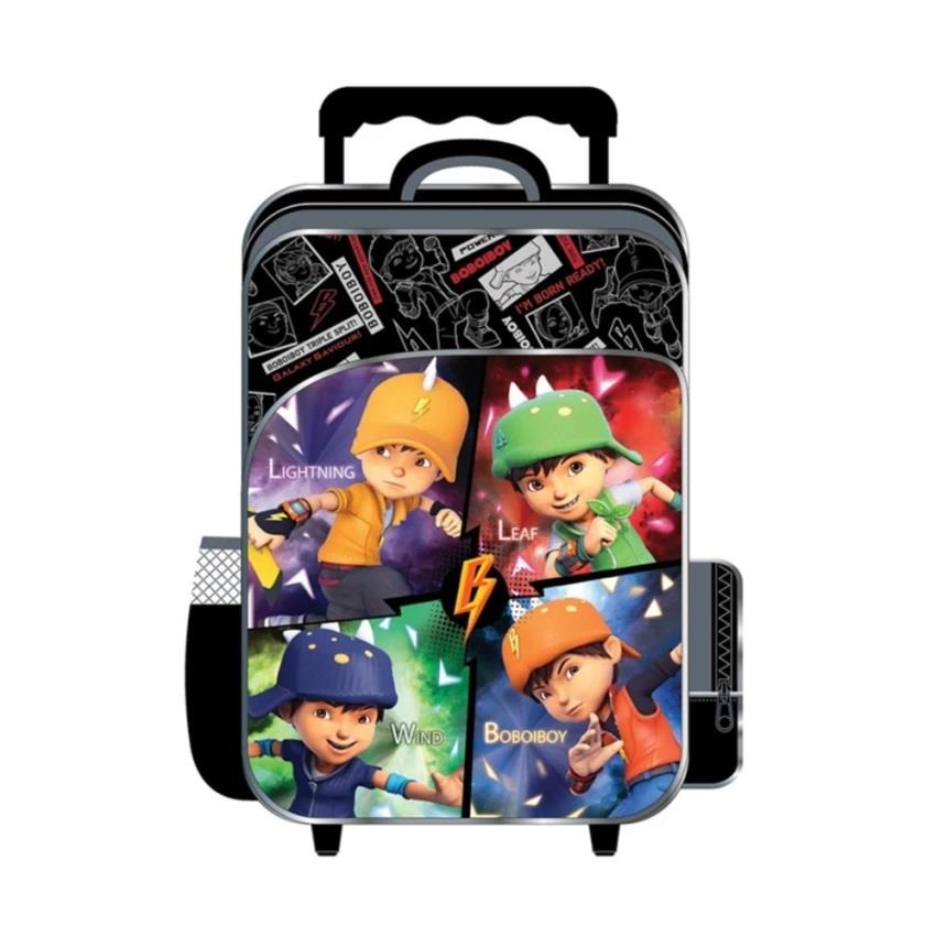 BoBoiBoy Galaxy School Trolley Bag - Black Colour