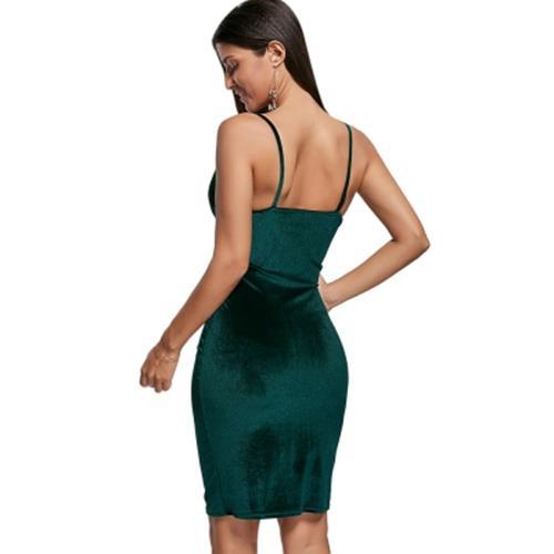 9d3fcfbe2c BODYCON SPAGHETTI STRAP FITTED VELVET TIGHT DRESS (BLACKISH GREEN)