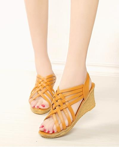 Bohemian Style Cross Wedge Sandals (Brown)
