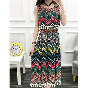 Bohemian Style Layered-look Sleeveless Long Dress (15)