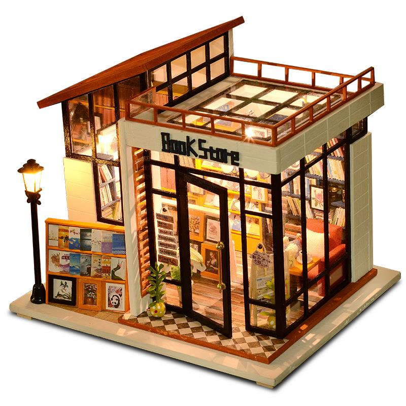 doll house lighting. Bookstore With Light/Anti-dust Cover DIY Miniature Doll House Lighting