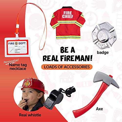 Born Toys Ultimate Fireman Costume for kids, Washable fire coat, pants,helmet,