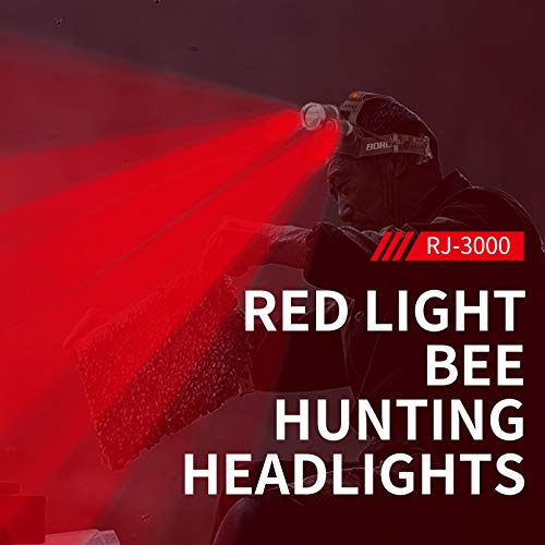 BORUiT RJ-3000 LED Headlamp with Red Light - White  & Red LED Hunting Headligh