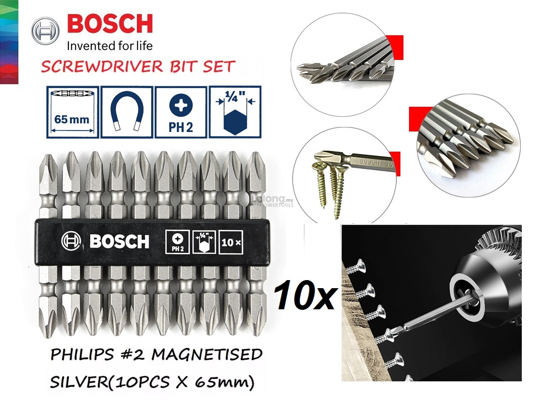 Bosch 10pcs 65mm x PH2 Double Ended S2 Hex Screw Bit